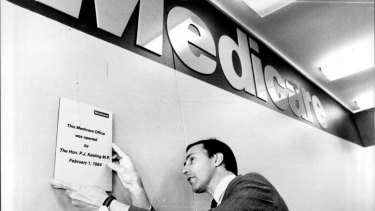 Paul Keating opens the Medicare office in Bankstown in 1984.