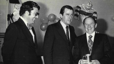 Golden era: Max Presnell with then-NSW Premier Neville Wran and legendary trainer Tommy Smith in 1976.