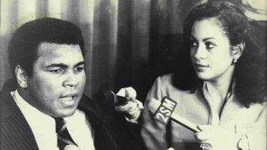 Louisville Lip: Muhammad Ali with wife Veronique after arriving in Sydney for an exhibition bout in 1979.
