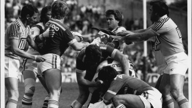Tough as nails: South Sydney marked the second scrum of their 1984 semi-final against St George down as as the moment to unleash hell. St George used their skill to delay the inevitable onslaught.