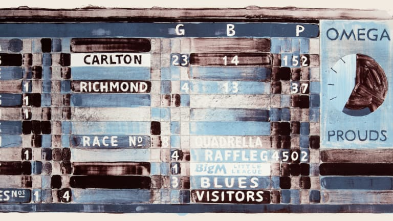 """Bragging Rights – Blues"" depicts a 1984 scoreboard from Princes Park, Carlton, showing the game at the ground, the horse-racing results – and the ubiquitous raffle (lithograph, 2018)."