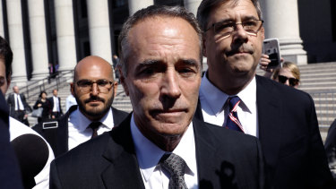 Chris Collins leaves a federal court in New York in August after being charged with insider trading.