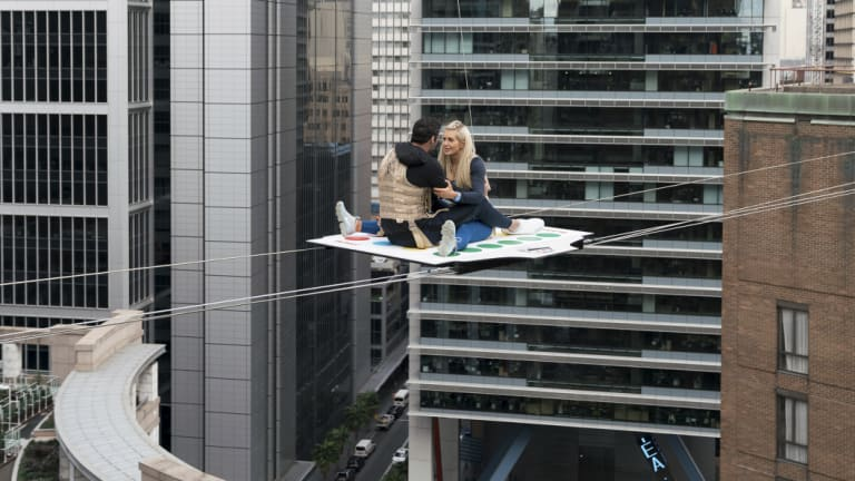 Newling and Oetjen perched high above Sydney on the first single date of the series.