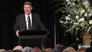 That was dad: Thomson's son Andrew speaks at yesterday's celebration.