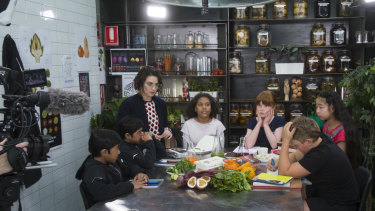 Alice and her young cast filming a segment for Phenomenom.