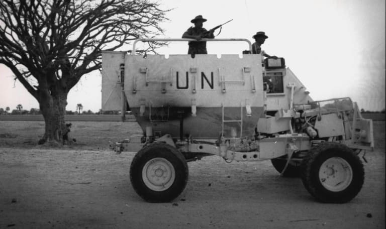 Members of Australia's UN contingent patrol the Namibian countryside in 1989 during efforts to help the country transition to independence.