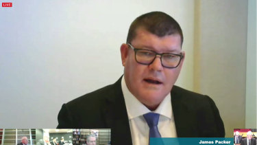 James Packer during the inquiry hearing. Getting out of Crown could lead to him forfeiting his control premium.