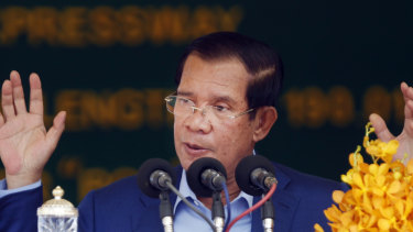 Cambodia's Prime Minister Hun Sen delivers a speech during a ground-breaking ceremony to build the country's first expressway, in Kampong Speu province, south of Phnom Penh, Cambodia, on Friday, March 22.