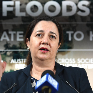 Queensland Premier Annastacia Palaszczuk addresses the media following a Queensland Disaster Management Committee meeting in Brisbane, Wednesday, February 6, 2019