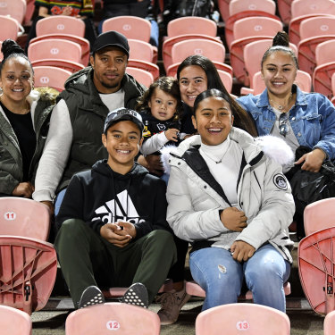 Jarome Luai's family watching on during last week's win against Parramatta at Panthers Stadium.