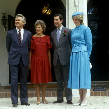 Prime minister Bob Hawke, wife Hazel and Charles and Diana in Canberra in 1983.