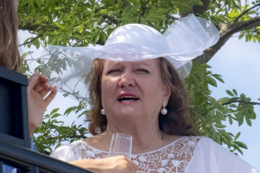 Australian mining magnate Gina Rinehart at the 2018 Melbourne Cup.