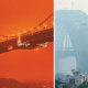 Sydney Harbour Bridge, shrouded by bushfire smoke last November. California's wildfires sent San Francisco's Golden Gate Bridge into daytime darkness on September 9.