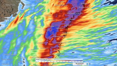 The latest model guidance on Saturday's rainfall in and around Sydney. The heaviest falls could occur north and west of Sydney, targeting the Blue Mountains, Central Coast and Lake Burragorang / Warragamba Dam. This model (ACCESS-C) suggests some areas could see >200mm.