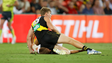 Tom Lynch knelt into the neck of St Kilda's Dougal Howard during last week's semi-final on the Gold Coast.