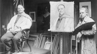 Competitive painting: James Quinn (right) with Cambridge rowing coach Steve Fairbairn, whose portrait he entered in the 1932 Olympics.