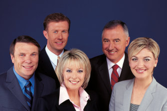 The 60 Minutes team in 2003: Charles Wooley, Peter Overton, Liz Hayes, Richard Carlton and Tara Brown.