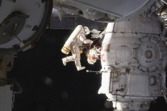Russian cosmonaut Oleg Kononenko performs a spacewalk outside the International Space Station in 2018  inspecting a section where a mysterious leak had appeared.