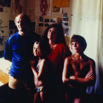 The Olsen family, from left, John, Louise, Valerie and Tim at Watsons Bay in the mid-70s.