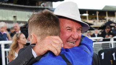 Worth the wait: An emotional Pat Webster hugs Blake Shinn.