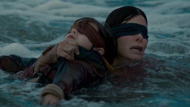 Sandra Bullock in a scene from the Netflix film Bird Box.