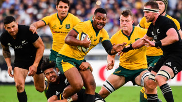 Welcome return: Samu Kerevi on the burst against the All Blacks in Yokohama.