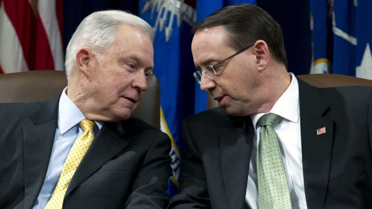 Deputy Attorney-General Rod Rosenstein (right) reportedly said he could convince his boss, Attorney-General Jeff Sessions (left), to invoke the 25th Amendment.
