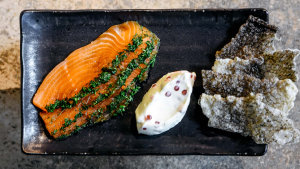Aurora's Gin-cured salmon with salmon skin crisps.