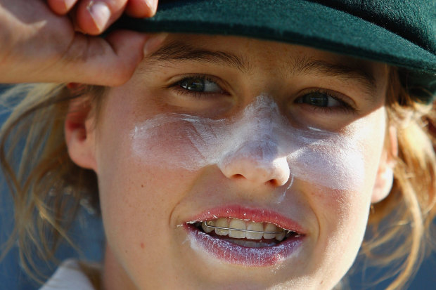 Ellyse Perry with her baggy green after the first day of her Test debut in 2008.