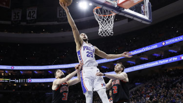 Philadelphia's Ben Simmons goes up for a shot against Chicago. He still hopes to go to the Olympics next year, if possible.