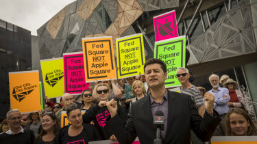Brett de Hoedt leads the protest on Sunday over the proposed Apple store at Federation Square.
