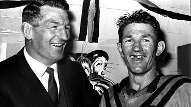 Norm Provan congratulates brother Peter after his man-of-the-match performance for Balmain.