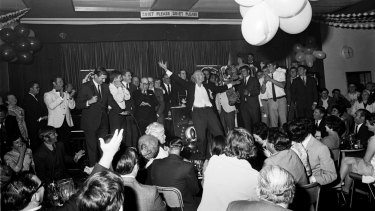 Celebration: Post-match festivities at Balmain Leagues Club carried on long into the night.