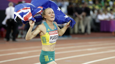 Her greatest triumph: Pearson after a comeback win at the 2017 world championships, a result she counts as her greatest given the circumstances.