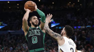 Quickfire: Boston's Jayson Tatum shoots over New Orleans' Lonzo Ball.