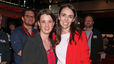 NZ PM Jacinda Ardern, right, with Claire Szabo, the new Labour Party president during the Labour Annual Conference on Saturday.