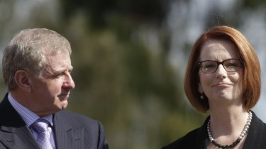 Julia Gillard and Simon Crean before their departures in 2013.