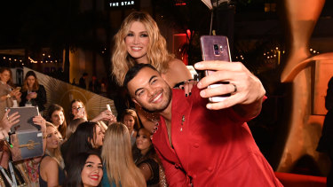 Selfie time: Guy Sebastian and Delta Goodrem on the red carpet at this year's Logies.