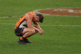 A dejected Harry Perryman after the final siren on Thursday night.