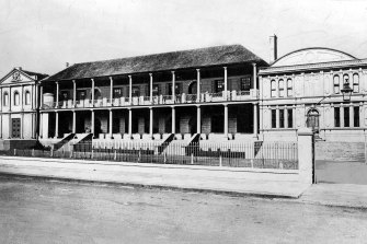 The NSW Parliament in 1856 opened with two houses of Parliament, including the new upper house, the Legislative Council, on the right.