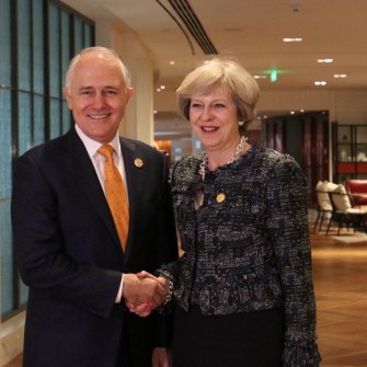 Former PMs Malcolm Turnbull and Theresa May at the G20 meeting in Hangzhou in 2016.