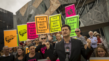 A protest in February against the planned demolition at Federation Square to make way for an Apple store.