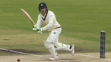 Bright spot: Will Pucovski on his way to 51 in a match dominated by both bowling attacks.