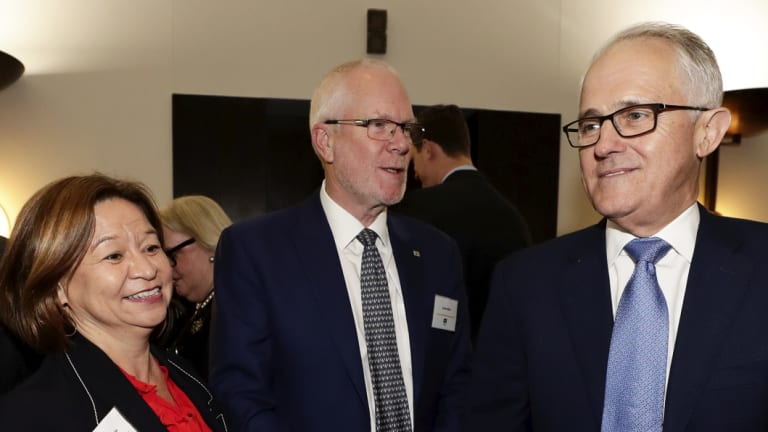 Former managing director Michelle Guthrie, chairman Justin Milne and former PM Malcolm Turnbull in August.