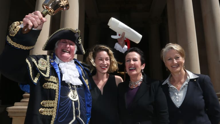 Town crier Graham Keating pictured in 2016 with Jess Miller, Sydney lord mayor Clover Moore and Kerryn Phelps.