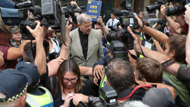 George Pell leaving court on Tuesday.