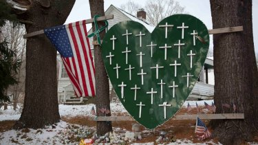 A memorial to the 26 victims of the Sandy Hook Elementary School shooting, in Sandy Hook village, one year after the shooting.
