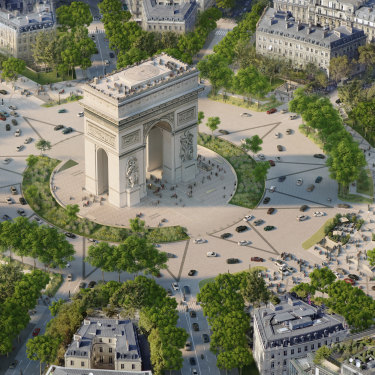 An architectural impression of a revamped Arc de Triomphe in central Paris, which will be redesigned as part of a major overhaul of the famous Champs-Élysées.