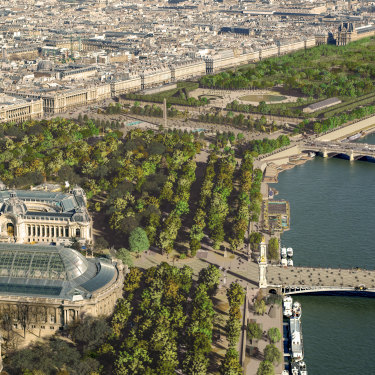 An architectural impression of the sprawling interconnected parkland created by the impending redevelopment of the Champs-Élysées and Place de la Concorde.