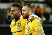 Japan's attack coach has credited Australia's turnaround to Samu Kerevi and Quade Cooper, pictured here after beating Argentina in 2016, as the Wallabies and Pumas prepare to lock horns again.
